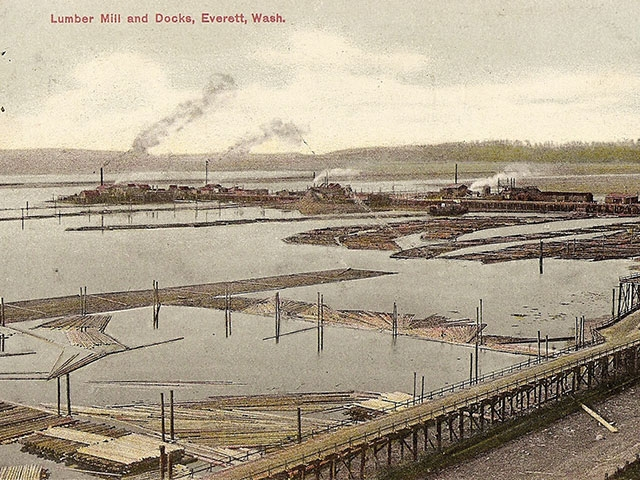 This circa 1915 postcard view looking NW shows 14th Street was still served by the wooden Norton Avenue trestle. The trestle was replaced with earthen fill and represents what is now known as West Marine View Drive.   Photo courtesy of Jack C. O'