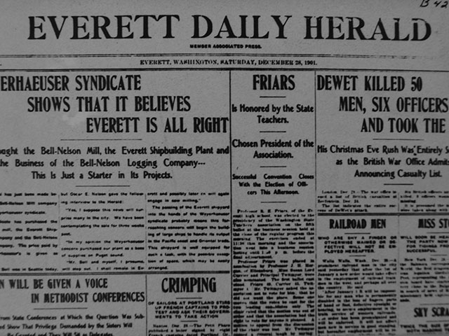 "A 1901 Everett Daily Herald article shows Weyerhaeuser believing that ""Everett is All Right.""   Photo courtesy of Everett Public Library."