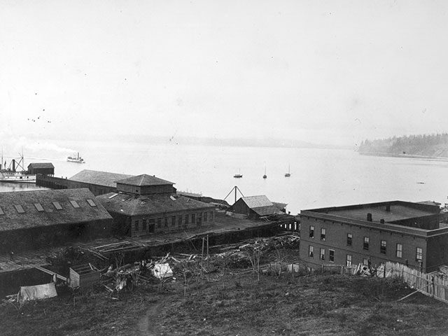 An 1892 view of Puget Sound Wire Nail and Steel Company, one of Everett's first iron works companies, located near what would later become Pier 1.