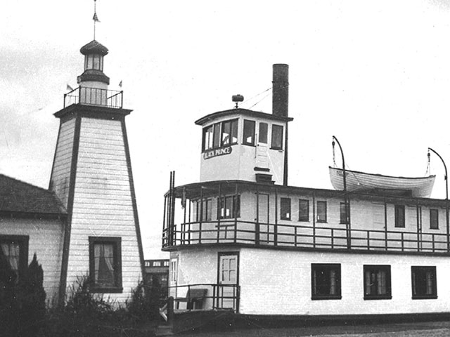 The Black Prince was decommissioned and gifted to the Everett Yacht Club who used it as their clubhouse for many years. The clubhouse was sited between the Port's Piers 1 and 2 (formerly known as City Dock).  Photo courtesy of the Everett Yacht Club.