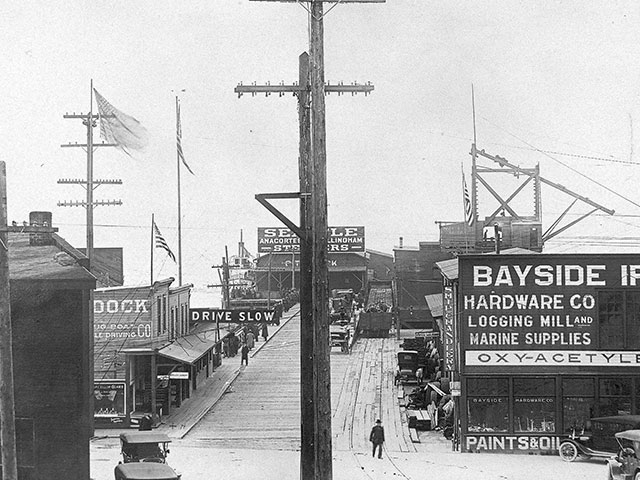 A 1917 western facing view of the Everett City Dock, the scene of the infamous Everett Massacre that took place on November 5, 1916.  Photo courtesy of Everett Public Library.