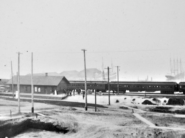 The Great Northern Depot, located upland, above the south Bayfront, circa 1905.   Photo courtesy of Port of Everett.