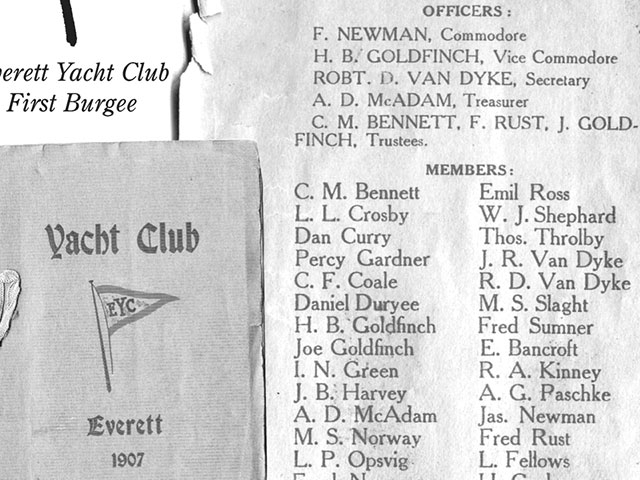 In 1907, with the growing number of pleasure boaters, the Everett Yacht Club was created. This photo showcases Everett Yacht Club's charter members and bylaws and first burgee design.   Photo courtesy of the Everett Yacht Club.