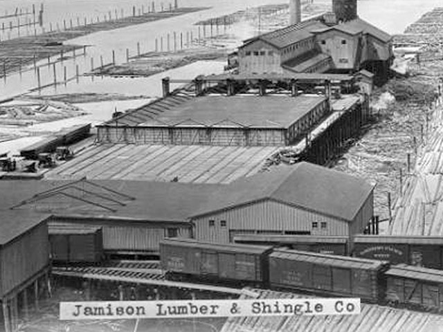 The Jamison Mill, circa 1915, located near 10th and Bayfront. The company was a mainstay of the waterfront shingle industry for more than half a century.  Photo courtesy of Everett Public Library, photographer J.A. Juleen.