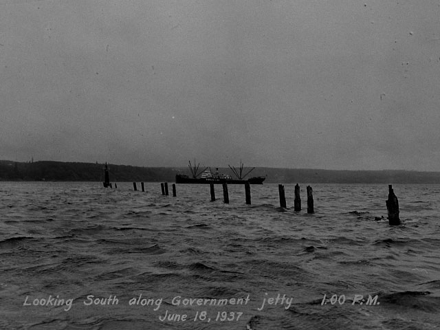 Looking south along Government Jetty (later known as Jetty Island), June 18, 1937.  Photo courtesy of Everett Public Library, photographer J.A. Juleen.