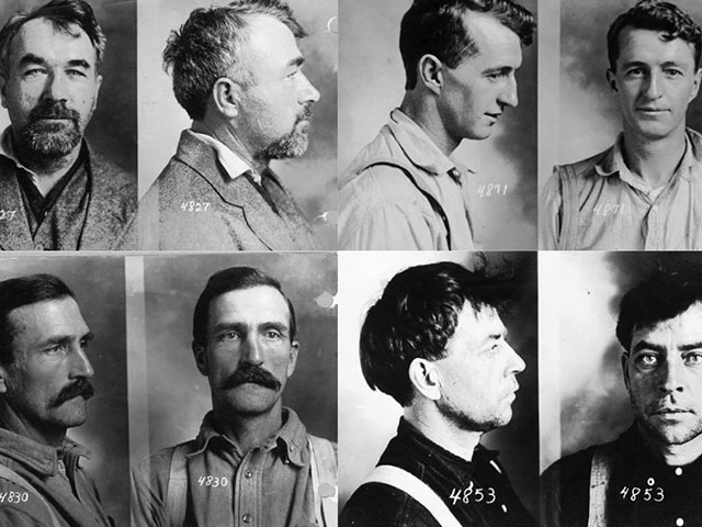 Industrial Workers of the World, better known as the Wobblies, were part of the labor dispute that became known as the Everett Massacre. This lineup of prisoners represents just a few of the Wobblies who were arrested following the shootout.    Photos cou