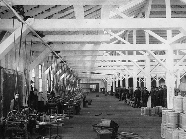 Workers inside the Puget Sound Wire Nail and Steel Company, circa 1893.