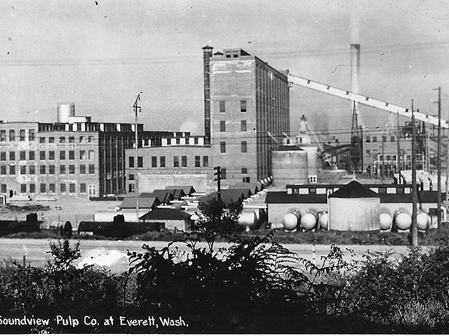 In 1935, Puget Sound Pulp and Timber Company sells its site to Soundview Paper Company who continues operations into the 1950s.  Photo courtesy of Port of Everett.