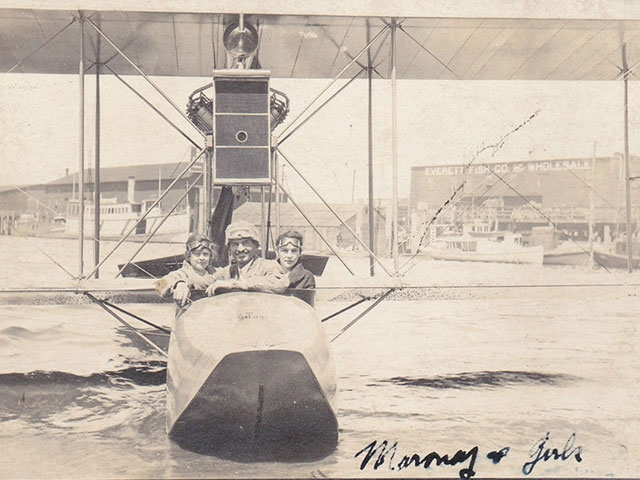 The City of Everett hired famous pilot Terah Maroney to perform an aerial show over the waterfront on July 4, 1914. Maroney stayed in the Everett and Seattle area for at least a year, and was the first man to take William Boeing up in an airplane. It is b