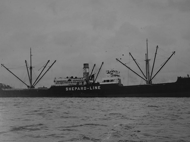 Ship heading into port to load timber product, June 18, 1937.