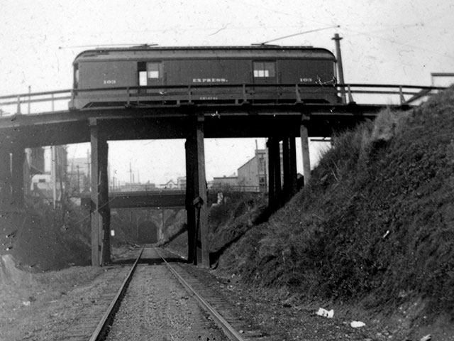 Express Trolley traversing the Broadway Overpass, circa 1910.   Photo courtesy of Port of Everett.
