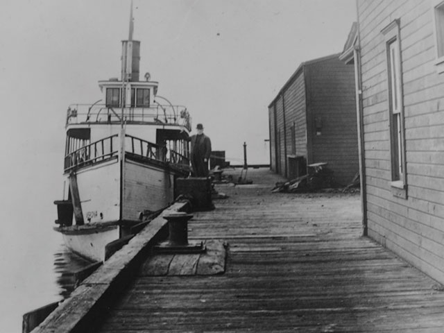 On November 5, 1916, the Wobblies arrived in Everett from Seattle aboard the steamer Verona, shown here a year later at City Dock.  Photo courtesy of Port of Everett.